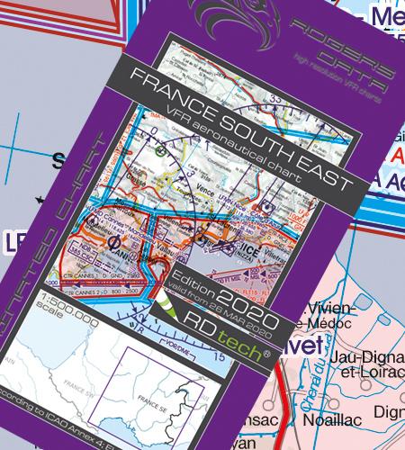 VFR Flugkarte Frankreich Süd Ost 1:500.000 von Rogers Data
