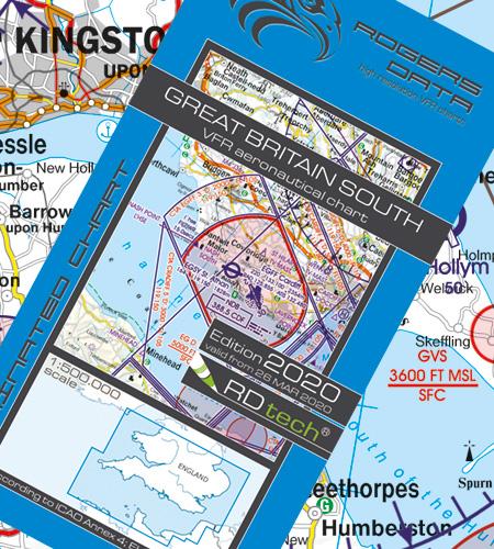 VFR Flugkarte Großbritannien Süd 1:500.000 von Rogers Data, laminiert