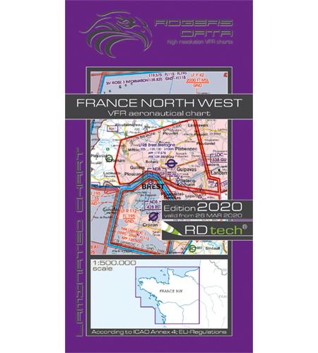 VFR Flugkarte Frankreich Nord West 1:500.000 von Rogers Data