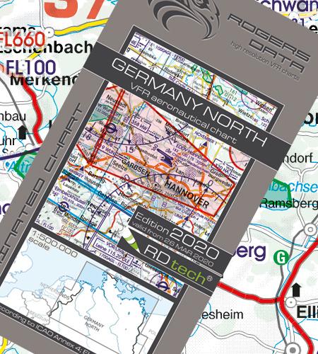 VFR Flugkarte Deutschland Nord  1:500.000 von Rogers Data laminiert