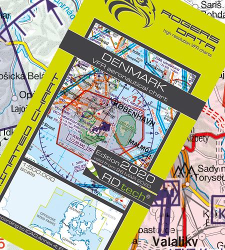 VFR Flugkarte Dänemark 1:500.000 laminiert von Rogers Data