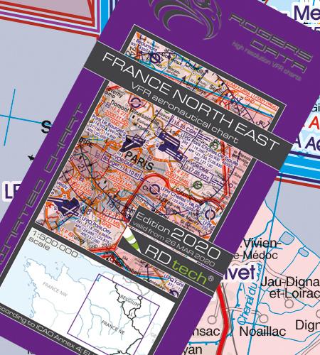 VFR Flugkarte Frankreich Nord Ost 1:500.000 von Rogers Data laminiert