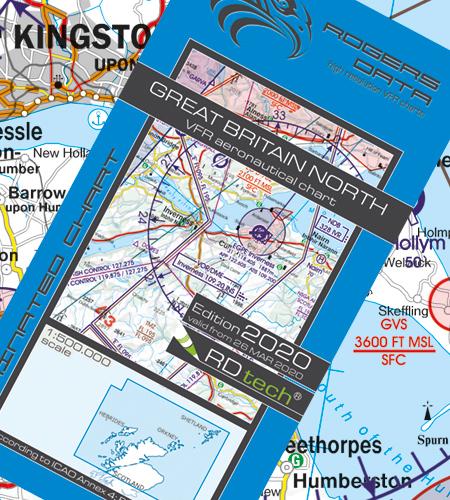 VFR Flugkarte Großbritannien Nord 1:500.000, laminiert von Rogers Data