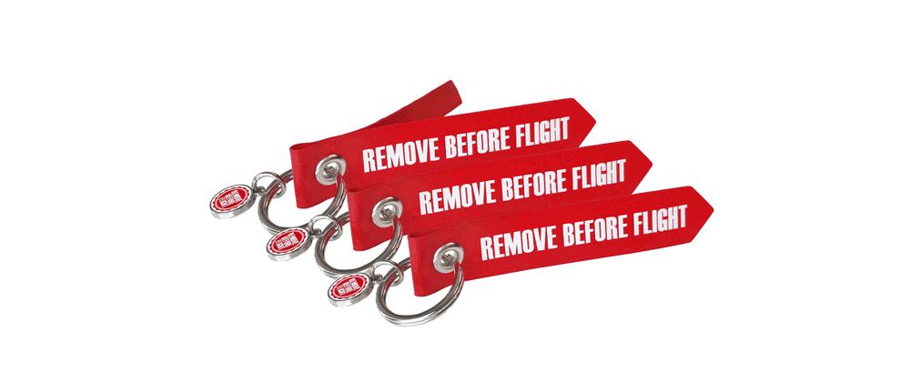RBF-Originals Mini-Schlüsselanhänger Remove Before Flight - 3 Stück