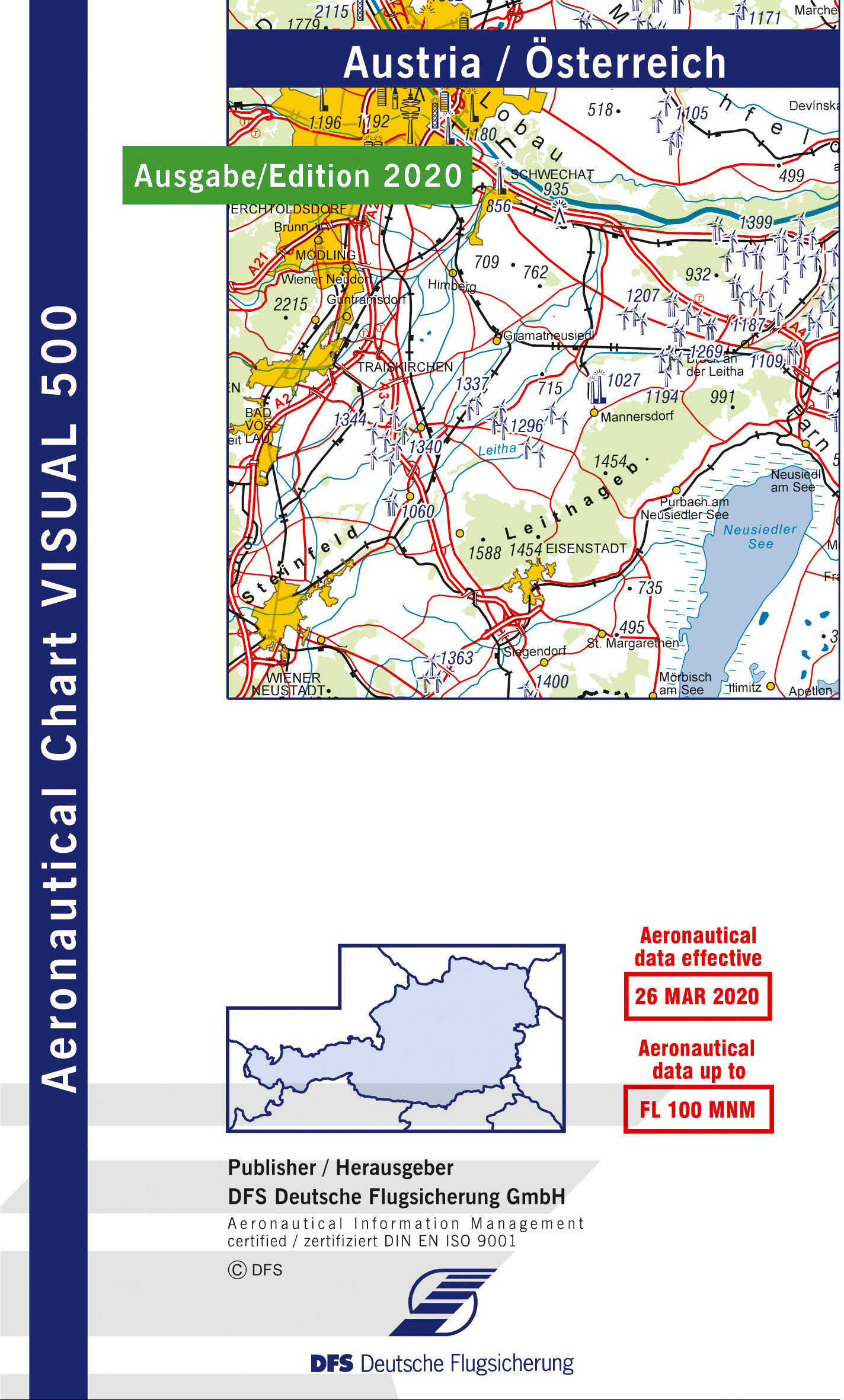 ICAO VFR Flugkarte Visual 500 Österreich 1:500.000