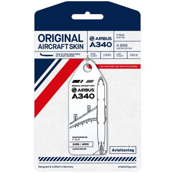 Aviationtag Air France Airbus A340 F-GLZI Schlüssel- & Kofferanhänger