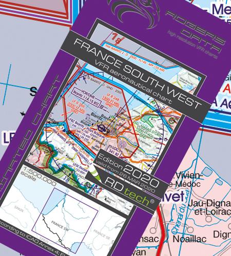 VFR Flugkarte Frankreich Süd West 1:500.000 von Rogers Data
