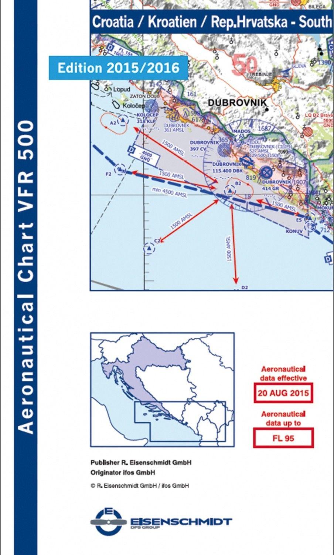 ICAO Flugkarte VFR 500 Kroatien, Blatt Süd 1:500.000