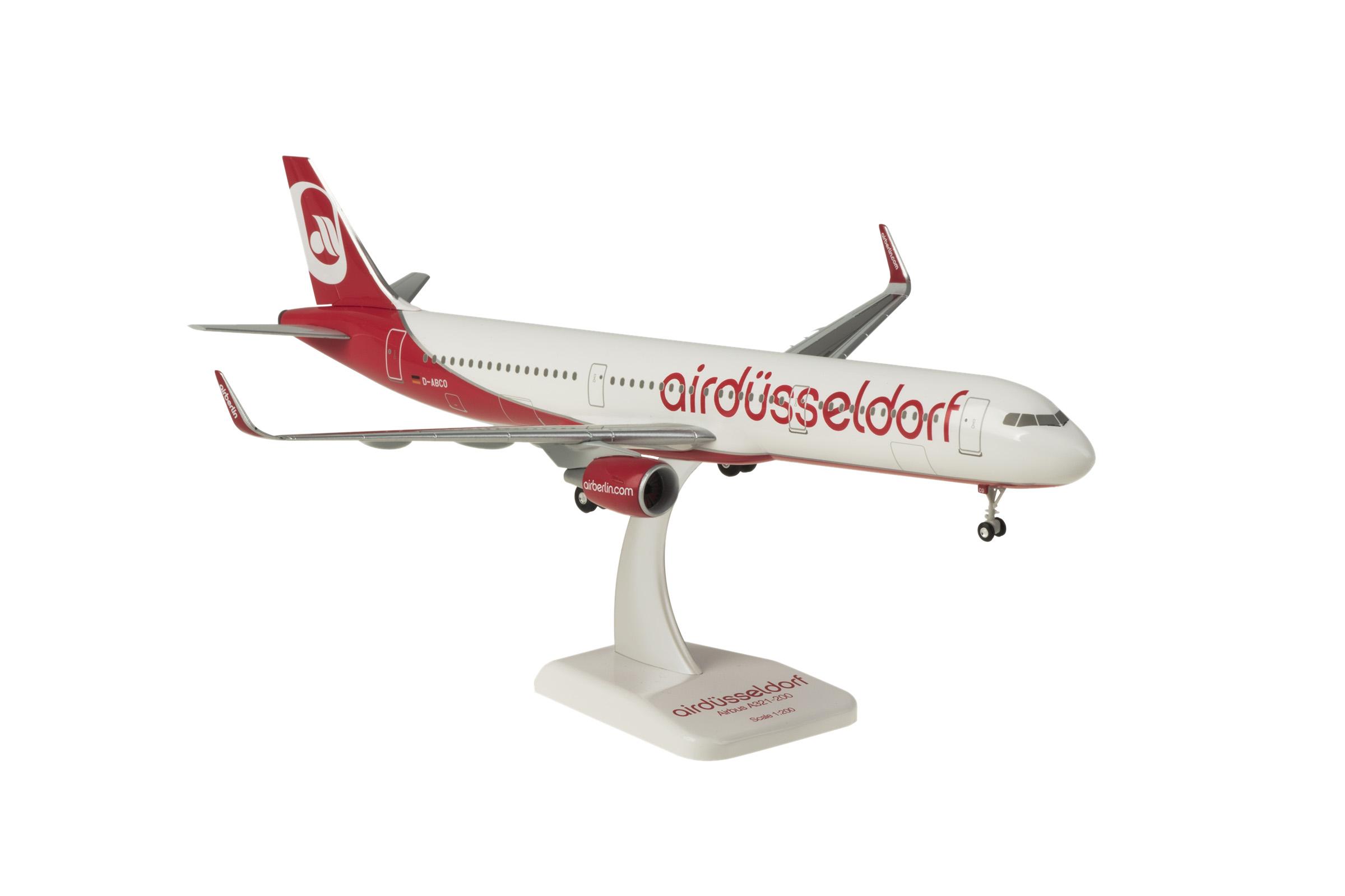 """Limox Flugzeugmodell Airbus A321 Air Berlin """"Air Düsseldorf"""" Maßstab 1:200"""