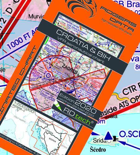 VFR Flugkarte Kroatien Bosnien & Herzegowina 1:500.000 von Rogers Data laminiert