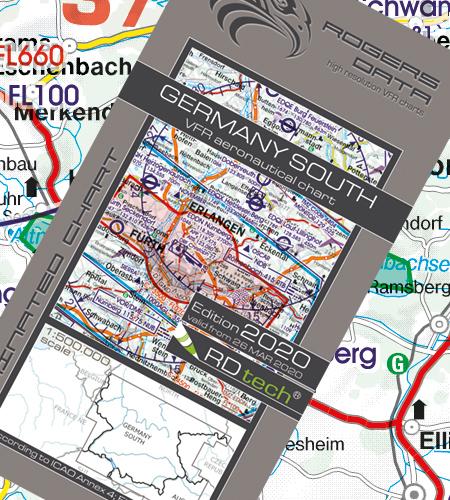 VFR Flugkarte Deutschland Süd  1:500.000 von Rogers Data laminiert