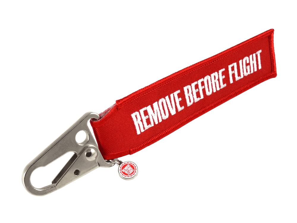 "RBF-Originals Schlüsselanhänger Flugzeug-Karabiner ""Remove Before Flight"""