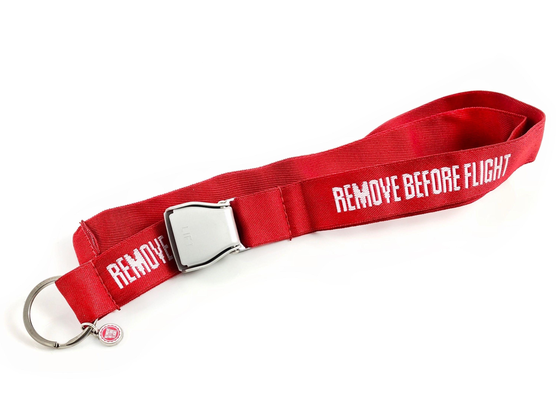 RBF-Originals Schlüsselhalsband REMOVE BEFORE FLIGHT mit Mini-Seatbelt-Schnalle